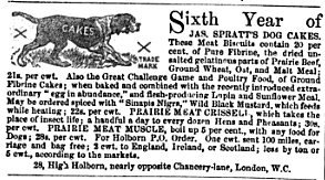 1867 ad for Spratts Dog Cakes